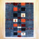 アマレ・リビングサイズ・カラフル、青色・四角形、鹿、木・真上画