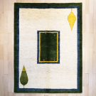 アマレ・リビングサイズ・白色、緑色・窓、糸杉・真上画