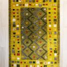 カシュクリ・センターサイズ・緑色・ジグザグ、正方形、花鳥・真上画
