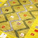 カシュクリ・センターサイズ・緑色・ジグザグ、正方形、花鳥・アップ画