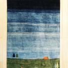 カシュクリ・138×95・青・羊・木・朝日・グラデーション・センターラグサイズ・玄関サイズ・真上画