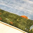 カシュクリ・138×95・青・羊・木・朝日・グラデーション・センターラグサイズ・玄関サイズ・アップ画