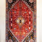 カシュガイシラーズ・165×101・赤・メダリオン・生命の樹・花・虫・センターラグサイズ・真上画