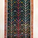 オールドギャッベ・201×128・緑・生命の樹・鳥・女の子・センターラグサイズ・真上画