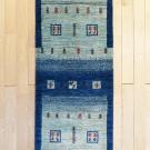 カシュクリ・197×59・青・グラデーション・ラクダ・木・玄関サイズ・廊下敷き・真上画