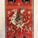オールドギャッベ・センターサイズ・赤色・カラフル・狩猟・羊・真上画