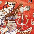 オールドギャッベ・センターサイズ・赤色・カラフル・狩猟・羊・アップ画