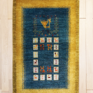 アマレ・131×83・黄色・青・孔雀・鹿・生命の樹・小花・玄関サイズ・真上画