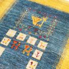 アマレ・131×83・黄色・青・孔雀・鹿・生命の樹・小花・玄関サイズ・アップ画