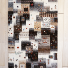 カシュクリ・124×84・パッチワーク・茶色・原毛・鹿・魚・木・玄関サイズ・真上画