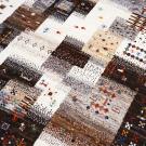 カシュクリ・124×84・パッチワーク・茶色・原毛・鹿・魚・木・玄関サイズ・アップ画