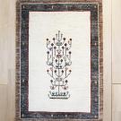 カシュクリ・117×83・ベージュ・茶色・生命の樹・鳥・玄関サイズ・真上画