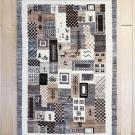 カシュクリ・124×82・パッチワーク・茶色・ベージュ・原毛・鹿・女の子・窓・木・玄関サイズ・真上画