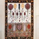 ルリバフ・119×85・茶色・ベージュ・山・木・女の子・玄関サイズ・真上画