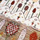 ルリバフ・119×85・茶色・ベージュ・山・木・女の子・玄関サイズ・アップ画