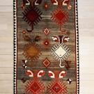 オールドギャッベ・164×94・茶色・赤・トランジ・センターラグサイズ・真上画