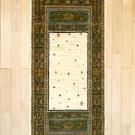 ルリバフ・193×69・木・小花・緑・ベージュ・キッチンマット・真上画