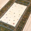 ルリバフ・193×69・木・小花・緑・ベージュ・キッチンマット・アップ画