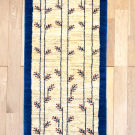 カシュクリ・154×55・青・グラデーション・原毛・生命の樹・キッチンマット・廊下敷き・真上画