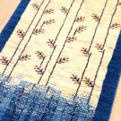 カシュクリ・154×55・青・グラデーション・原毛・生命の樹・キッチンマット・廊下敷き・アップ画