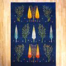 ルリバフ・大型ルーム、リビングサイズ・青色・糸杉・生命の木・真上画