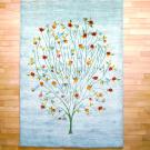 ルリバフ・リビングサイズ・水色・生命の樹、ザクロ・真上画