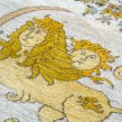 ルリバフ・大型、リビングサイズ・黄色、白色、カラフル・ライオン、太陽、生命の樹、コーナー・アップ画