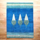 アマレ・リビング、センターサイズ・青色、白色・糸杉・真上画