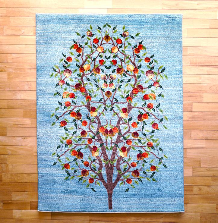 ルリバフ・リビング、センターサイズ・青色・ザクロ、生命の樹・真上画