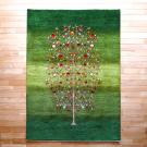 ルリバフ・リビング、センターサイズ・緑色、グラデーション、ザクロ、生命の樹・真上画
