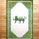 カシュクリ・194×125・サーベルライオン・市松文様・緑・原毛・真上画