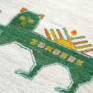 カシュクリ・194×125・サーベルライオン・市松文様・緑・原毛・アップ画