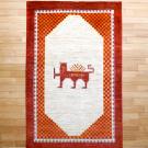 カシュクリ・センターサイズ・赤色、白色・ライオン、太陽、市松文様・真上画