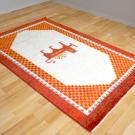 カシュクリ・センターサイズ・赤色、白色・ライオン、太陽、市松文様・使用イメージ画
