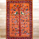 ルリバフ・125×81・生命の樹・赤・鳥・花・玄関サイズ・真上画