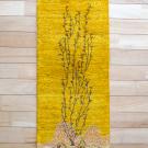 カシュクリランドスケープ・その他サイズ・黄色・生命の樹、山、鳥、鹿・真上画