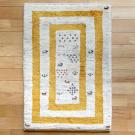 アマレ・91×62・黄色・ベージュ・原毛・窓・ヤギ・羊・花・玄関サイズ・真上画