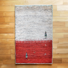 アマレ・98×62・赤・ベージュ・糸杉・羊・原毛・玄関サイズ・真上画