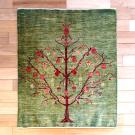 ルリバフ・90×74・緑・ザクロ・花・玄関サイズ・真上画