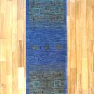 カシュクリ・201×63・青・四角・窓・羊・木・ランナー・キッチンサイズ・真上画