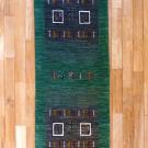 カシュクリ・203×62・緑・木・ラクダ・四角・窓・ランナー・キッチンサイズ・真上画