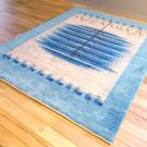 アマレ・198×154・青・水色・生命の樹・原毛・玄関サイズ・使用イメージ画