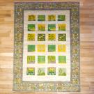 ルリバフ・206×152・緑・黄色・糸杉・植物・羊・四角・リビングサイズ・真上画