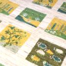 ルリバフ・206×152・緑・黄色・糸杉・植物・羊・四角・リビングサイズ・アップ画