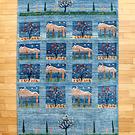 カシュクリ・205×143・青・山・糸杉・木・鹿・四角・リビングサイズ・真上画