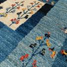 アマレ・玄関マットサイズ・青色、鹿、木、花・アップ画