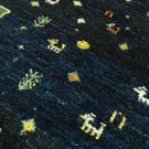 アマレ・玄関マットサイズ・紺色・鹿、花、菱形・アップ画