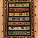 バルーチスペシャル・101×71・緑・羊・孔雀・木・ラクダ・真上画