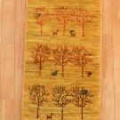 アマレ・155×48・黄色・鹿・孔雀・木・廊下敷き・真上画