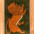 オールドライオン・83×56・緑・王様・ライオン・玄関マットサイズ・真上画
